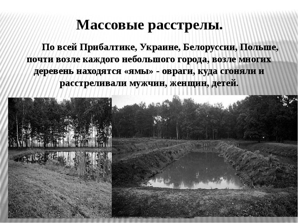 Массовые расстрелы. По всей Прибалтике, Украине, Белоруссии, Польше, почти во...