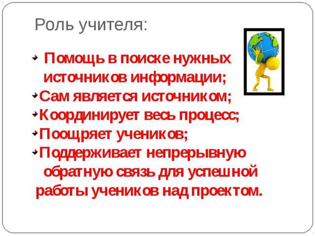 Роль учителя: Помощь в поиске нужных источников информации; Сам является исто...