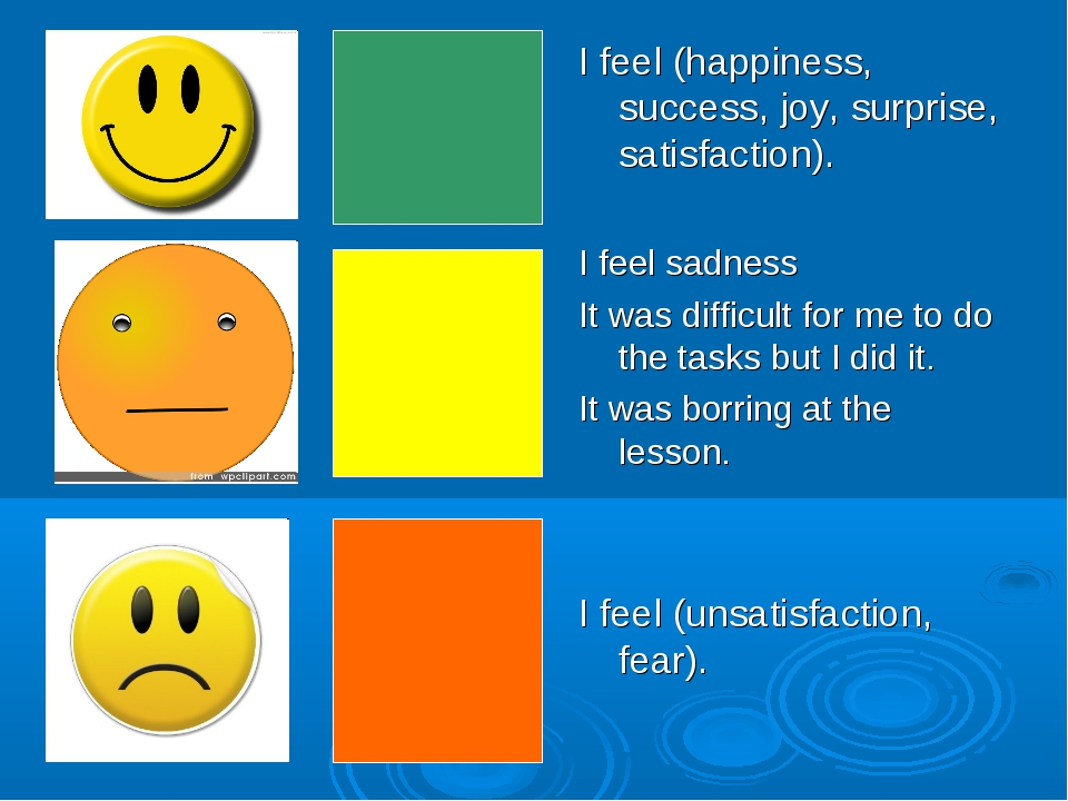 I feel (happiness, success, joy, surprise, satisfaction). I feel sadness It w...
