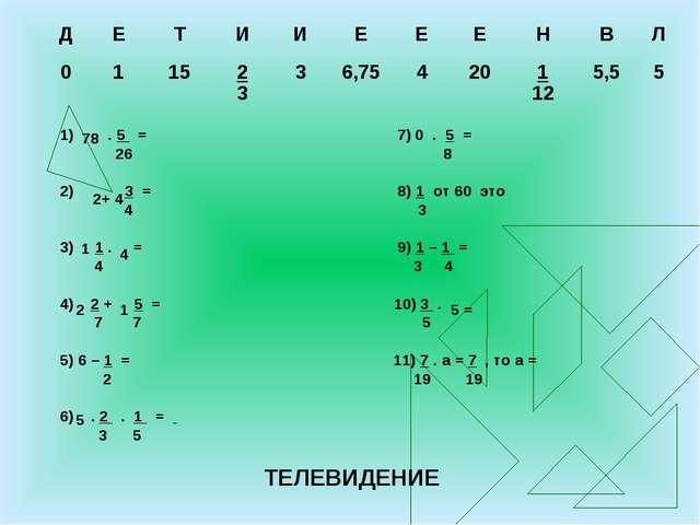 1) . 5 = 7) 0 . 5 = 26 8 2) 3 = 8) 1 от 60 это 4 3 3) 1 . = 9) 1 – 1 = 4 3 4...