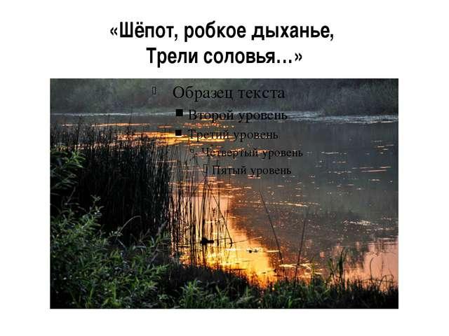 «Шёпот, робкое дыханье, Трели соловья…»