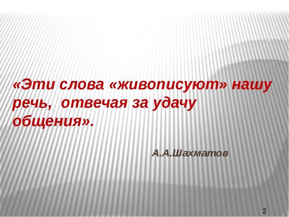 «Эти слова «живописуют» нашу речь, отвечая за удачу общения». А.А.Шахматов