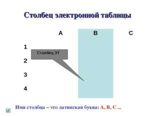 Столбец электронной таблицы Имя столбца – это латинская буква: A, В, C ... Ст