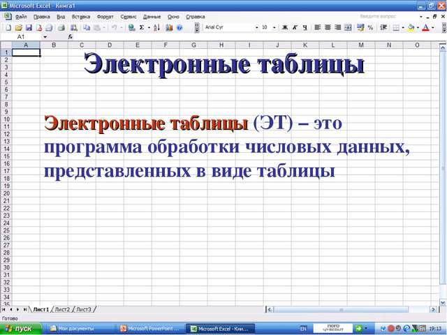 Электронные таблицы Электронные таблицы (ЭТ) – это программа обработки числов...