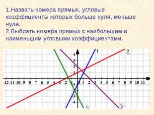 1.Назвать номера прямых, угловые коэффициенты которых больше нуля, меньше нул