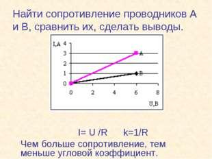 Найти сопротивление проводников А и В, сравнить их, сделать выводы. I= U /R k