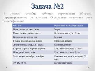 Задача №2 В первом столбце таблицы перечислены объекты, сгруппированные по кл
