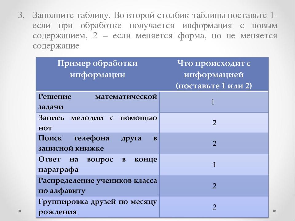 Заполните таблицу. Во второй столбик таблицы поставьте 1- если при обработке...