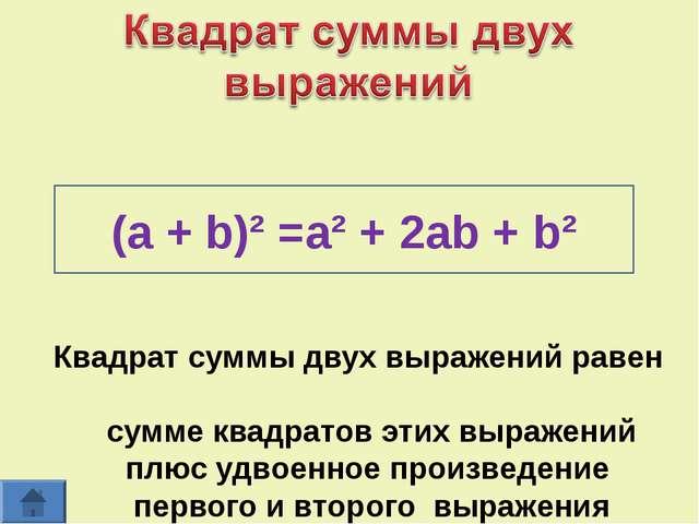 Квадрат суммы двух выражений равен сумме квадратов этих выражений плюс удвоен...
