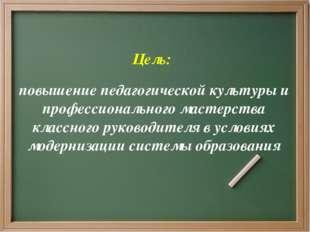Цель: повышение педагогической культуры и профессионального мастерства класс