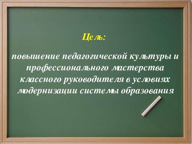 Цель: повышение педагогической культуры и профессионального мастерства класс...