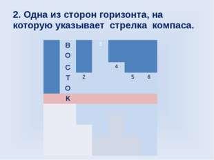 2. Одна из сторон горизонта, на которую указывает стрелка компаса. В 3 О С 4