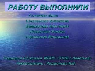 РАБОТУ ВЫПОЛНИЛИ Соколова Анна Шляхетская Анастасия Балахонова Анастасия Новр