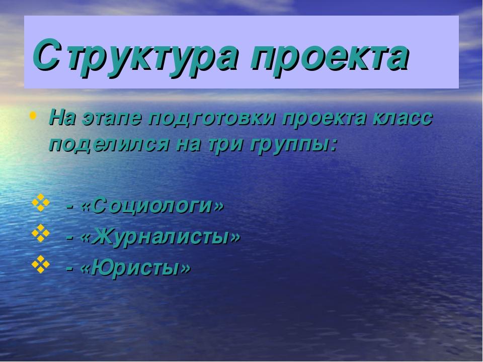 Структура проекта На этапе подготовки проекта класс поделился на три группы:...