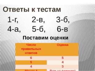 Ответы к тестам 1-г, 2-в, 3-б, 4-а, 5-б, 6-в Поставим оценки Число правильны
