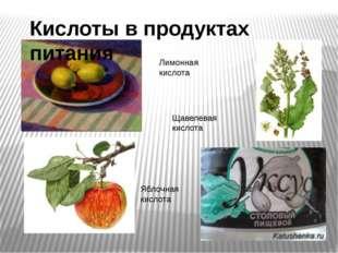 Лимонная кислота Яблочная кислота Щавелевая кислота Кислоты в продуктах питан
