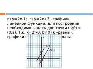 в) у=2х-1; г) у=2х+3 –графики линейной функции, для построения необходимо за