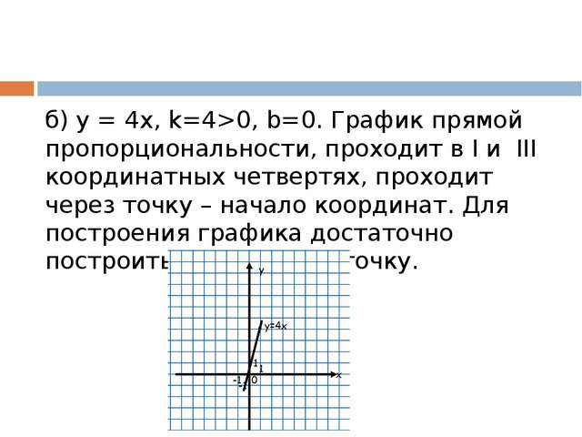 б) у = 4х, k=4>0, b=0. График прямой пропорциональности, проходит в I и III...