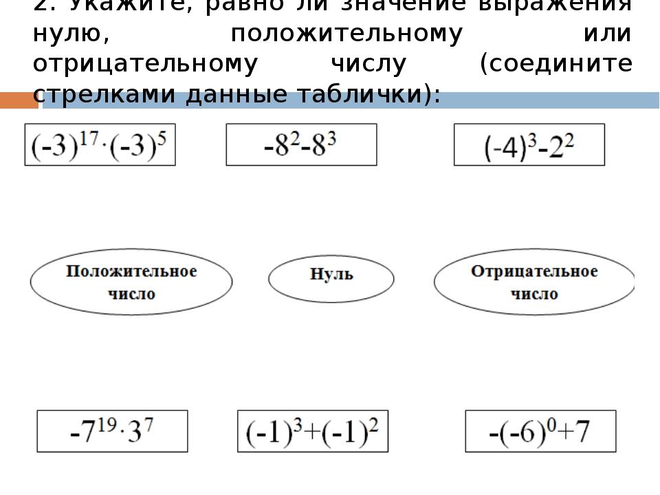 2. Укажите, равно ли значение выражения нулю, положительному или отрицательн...