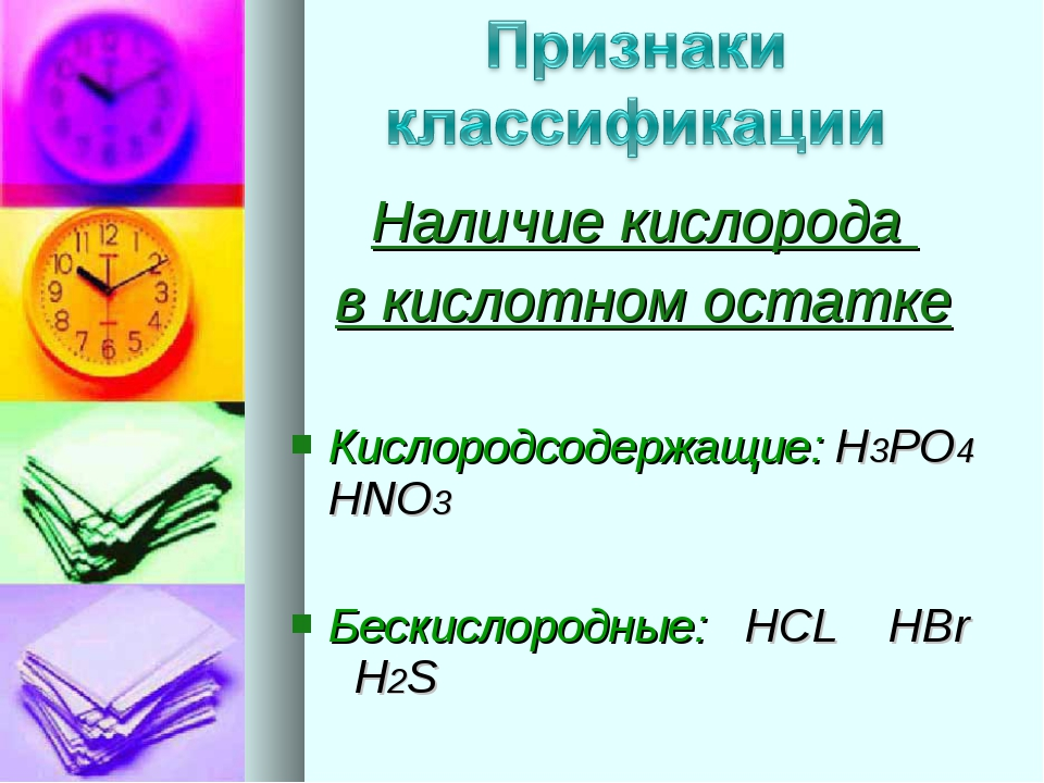 Наличие кислорода в кислотном остатке Кислородсодержащие: H3PO4 HNO3 Бескисло...