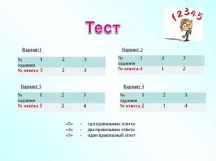 Вариант1 Вариант 2 Вариант 3 Вариант 4 «5» - три правильных ответа «4» - два
