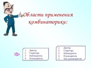 Области применения комбинаторики: 1 Диктор 2 Секретарь 3 Наблюдатель 4 Руково