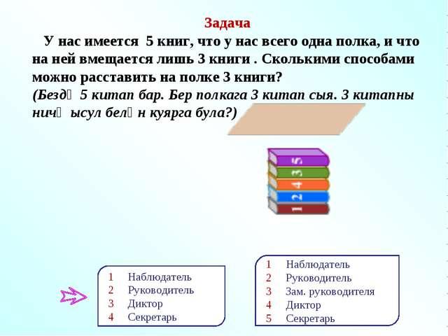 Задача У нас имеется 5 книг, что у нас всего одна полка, и что на ней вмещает...