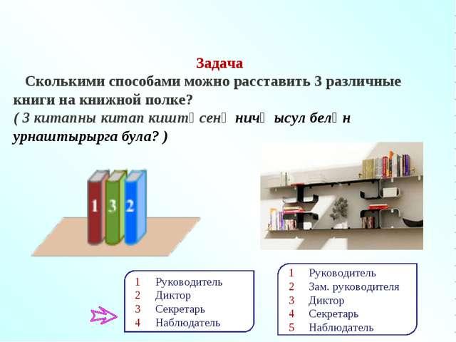 Задача Сколькими способами можно расставить 3 различные книги на книжной полк...