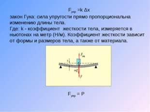 Fупр =k Δх закон Гука: сила упругости прямо пропорциональна изменению длины т