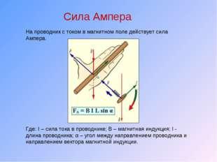 Сила Ампера На проводник с током в магнитном поле действует сила Ампера. Где: