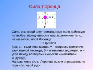 Сила Лоренца Сила, с которой электромагнитное поле действует на любое, находя