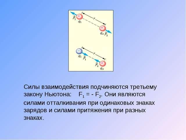 Силы взаимодействия подчиняются третьему закону Ньютона: F1 = - F2. Они являю...