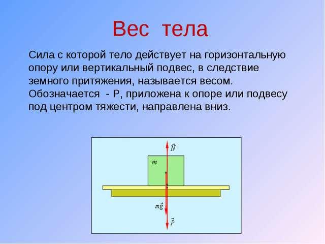 Вес тела Сила с которой тело действует на горизонтальную опору или вертикальн...