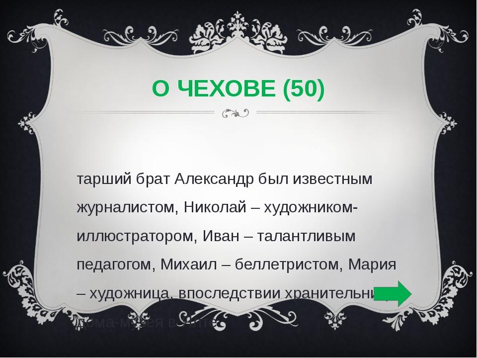 О ЧЕХОВЕ (50) Старший брат Александр был известным журналистом, Николай – худ...