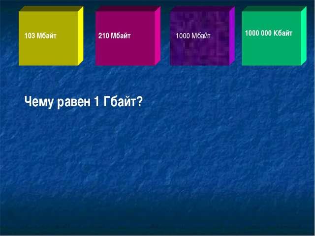 Чему равен 1 Гбайт? 103 Мбайт 210 Мбайт 1000 Мбайт 1000 000 Кбайт
