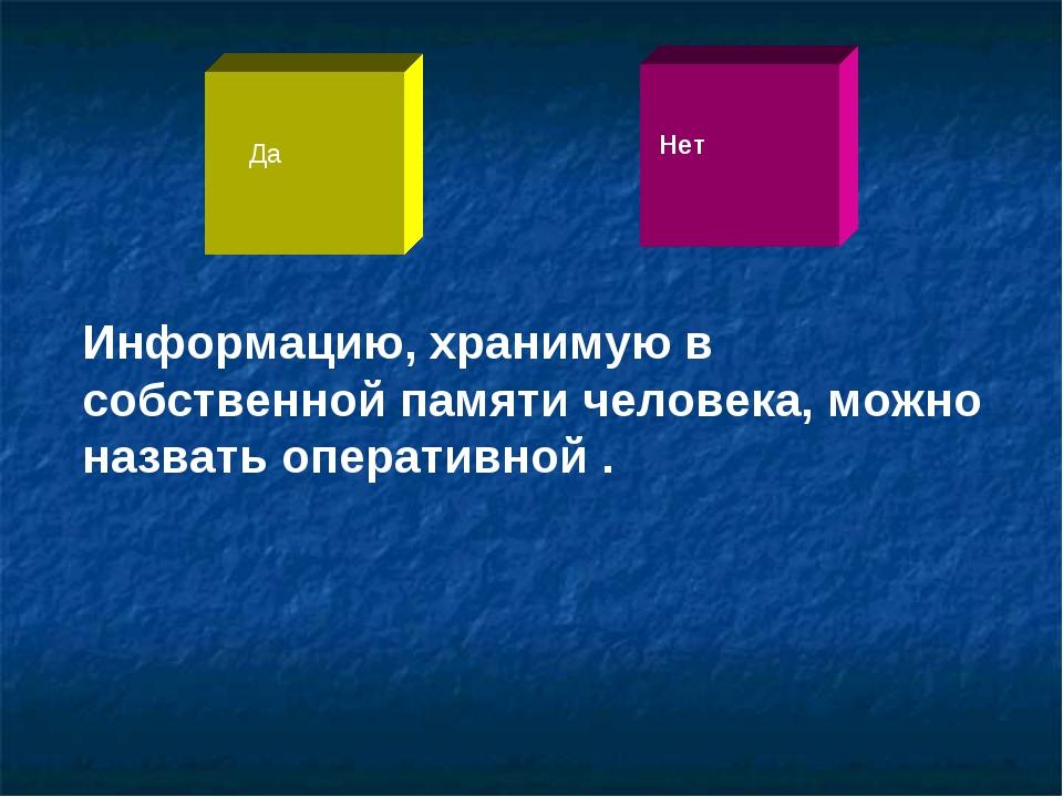 Информацию, хранимую в собственной памяти человека, можно назвать оперативной...