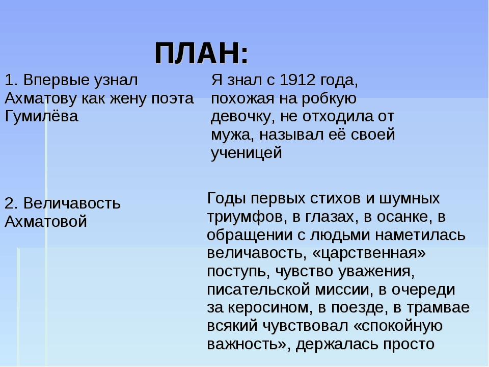 ПЛАН: 2. Величавость Ахматовой Я знал с 1912 года, похожая на робкую девочку...