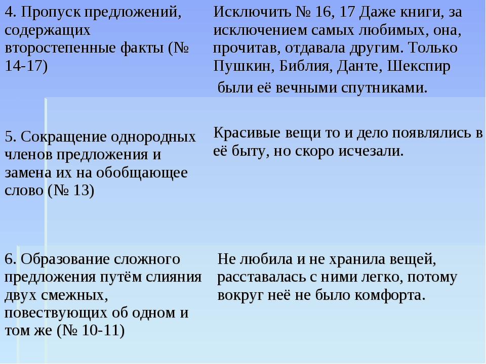 4. Пропуск предложений, содержащих второстепенные факты (№ 14-17) Исключить №...
