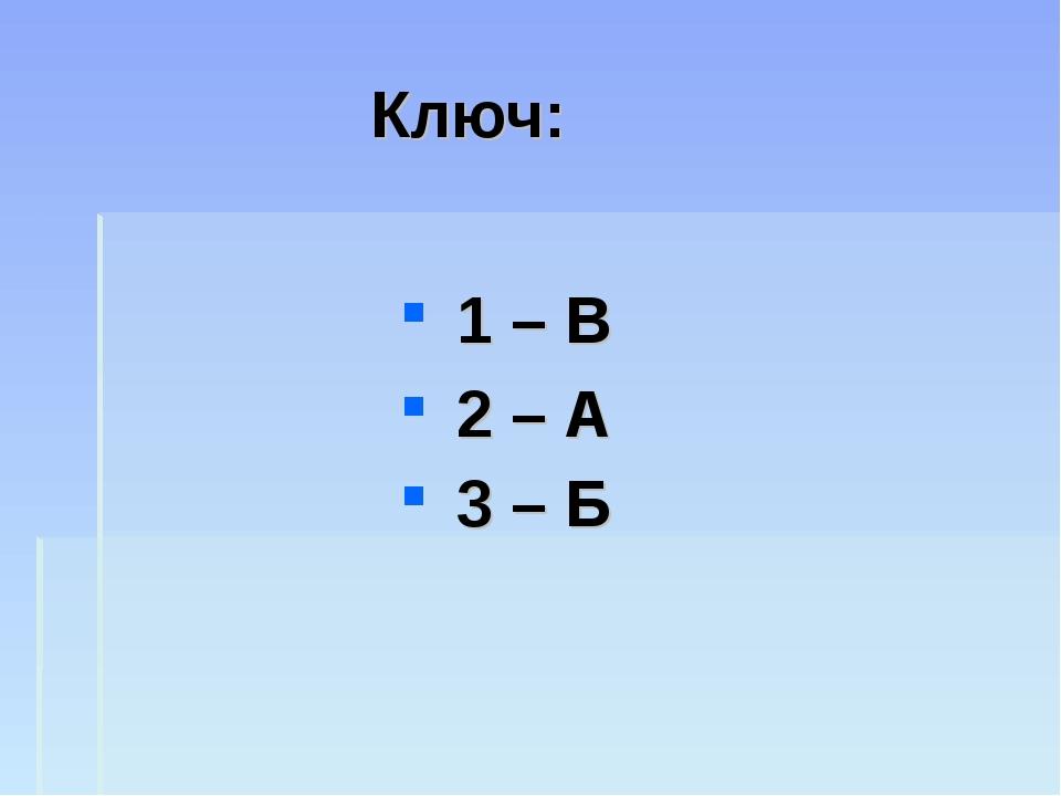 Ключ: 1 – В 2 – А 3 – Б