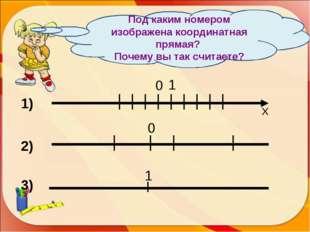0 1 Х 1) 2) 0 3) 1 Под каким номером изображена координатная прямая? Почему