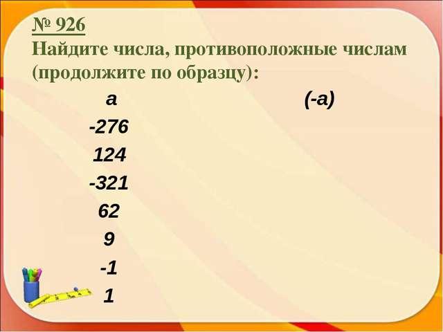 № 926 Найдите числа, противоположные числам (продолжите по образцу): а (-а)...