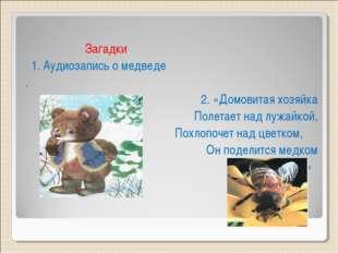 Загадки 1. Аудиозапись о медведе . 2. «Домовитая хозяйка Полетает над лужайк