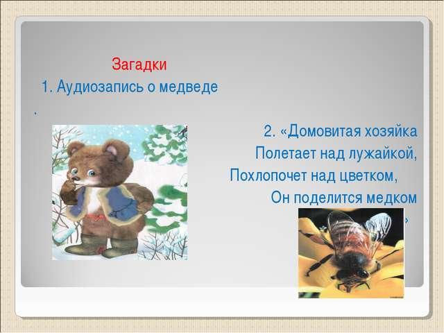 Загадки 1. Аудиозапись о медведе . 2. «Домовитая хозяйка Полетает над лужайк...