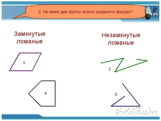 3. На какие две группы можно разделить фигуры? 2 5 Замкнутые ломаные Незамкну...