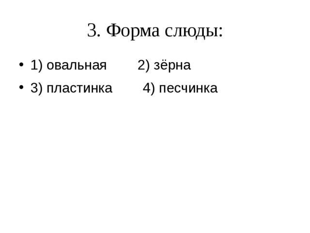3. Форма слюды: 1) овальная 2) зёрна 3) пластинка 4) песчинка