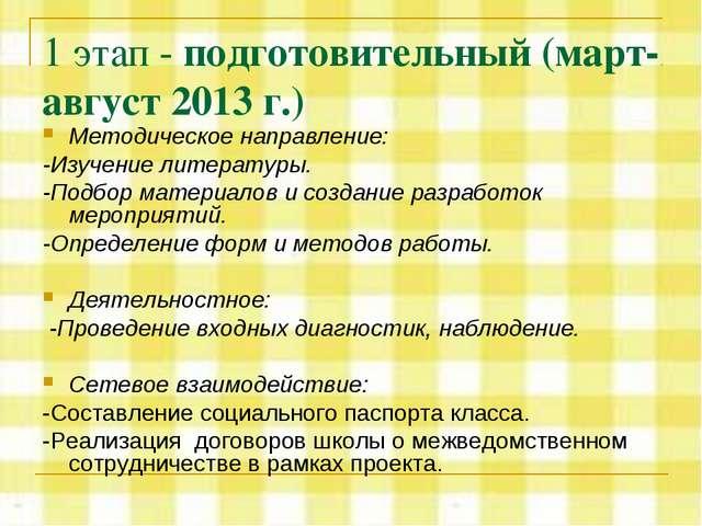 1 этап - подготовительный (март-август 2013 г.) Методическое направление: -Из...