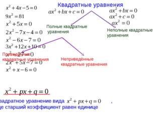 Квадратные уравнения Полные квадратные уравнения Неполные квадратные уравнени