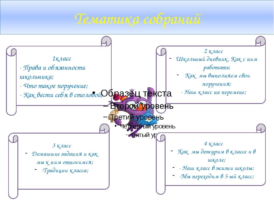 Тематика собраний 1класс - Права и обязанности школьника; - Что такое поручен...