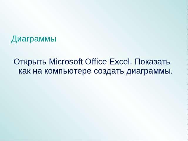 Диаграммы Открыть Microsoft Office Excel. Показать как на компьютере создать...