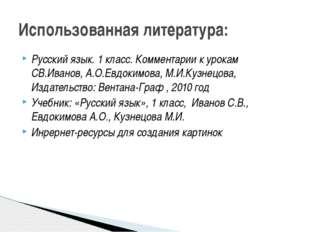 Русский язык. 1 класс. Комментарии к урокам СВ.Иванов, А.О.Евдокимова, М.И.Ку